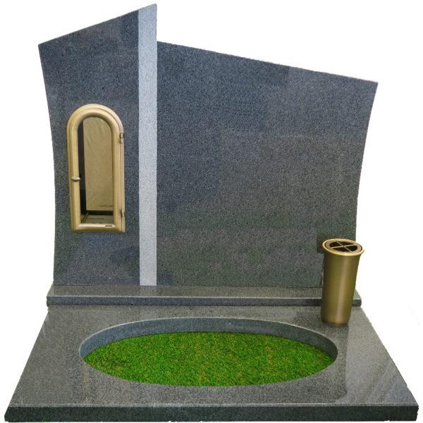 Gravstein Agri mørk grå granitt bedplate og bronse