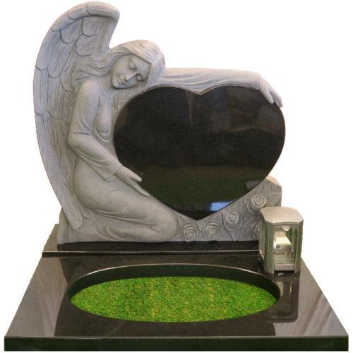 Gravstein Angelus sort granitt fra Gravstein Grossisten
