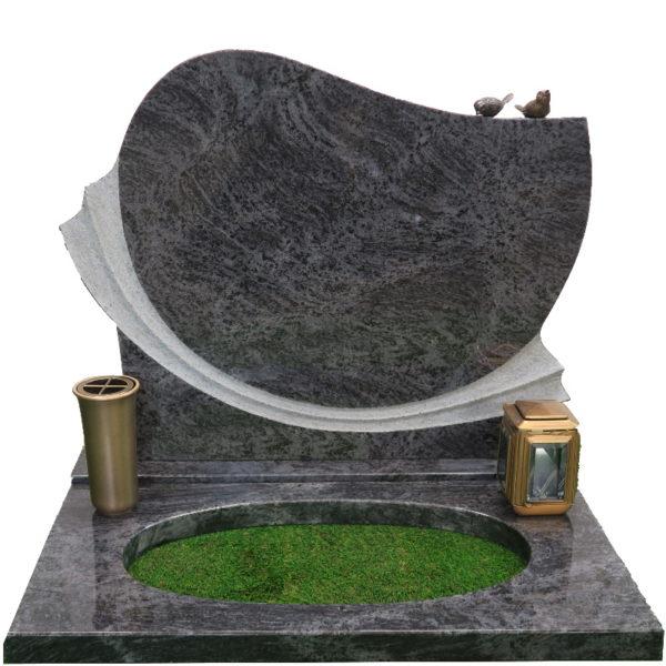 Gravstein Anima i orion blå granitt bedplate bronse
