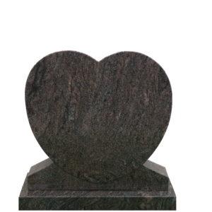 Gravstein Cor i rødbrun granitt front