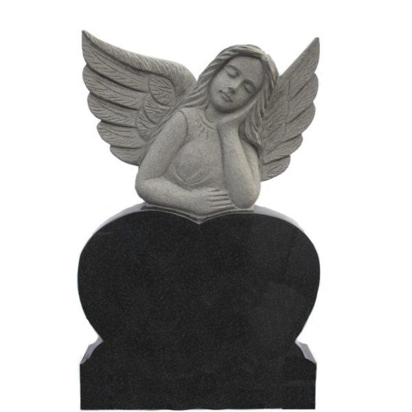 Gravstein Dormis engle gravstein i sort granitt