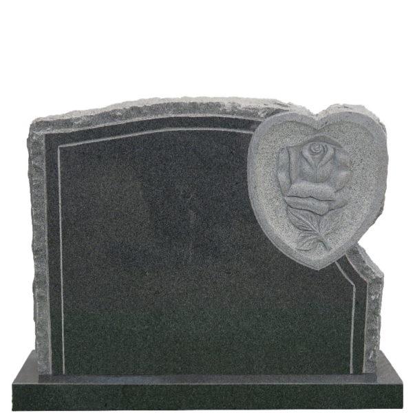 Gravstein Flos i mørk grå granitt front