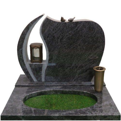 Gravstein Ignis orion blå granitt bedpalte og bronse