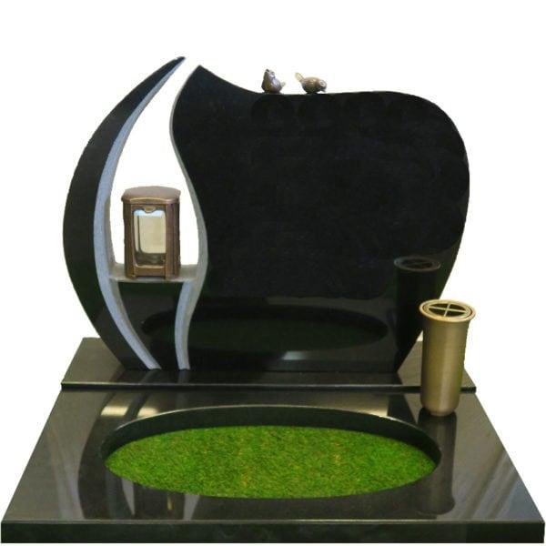 Gravstein Ignis sort granitt bedplate og bronse
