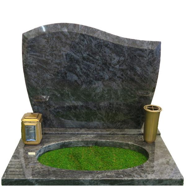 Gravstein Pacem i orion blå granitt bedplate, bronse vase og lykt