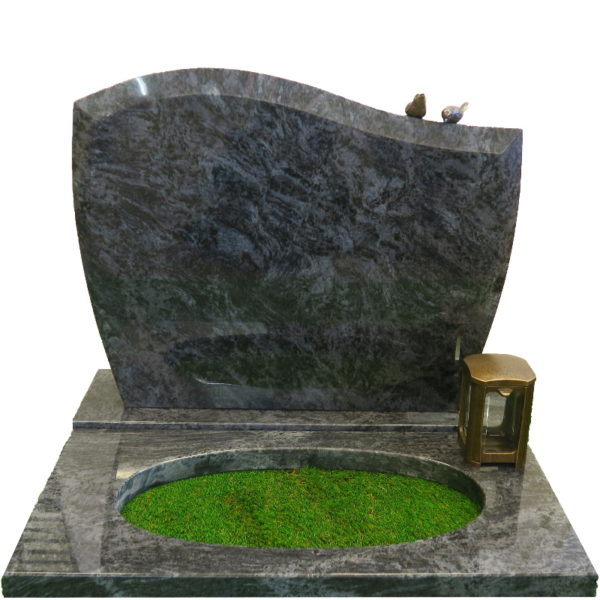 Gravstein Pacem i orion blå granitt bedplate, bronse og fugler