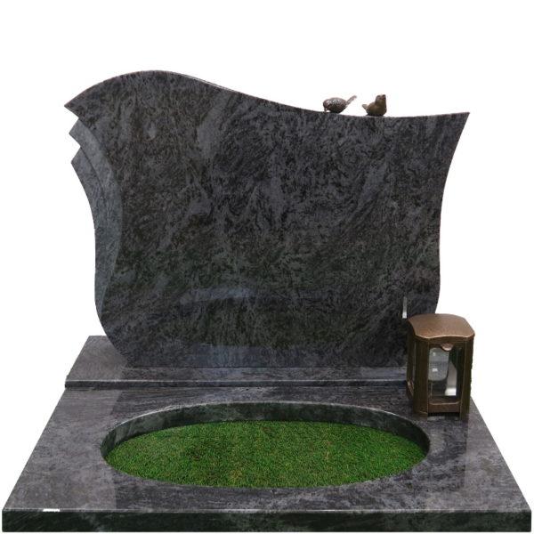 Gravstein Pulchra i orion blå granitt bedplate og bronse