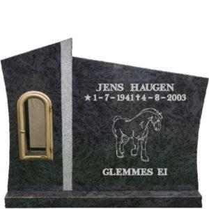 Gravstein Agri i orion blå granitt med tekst ,front