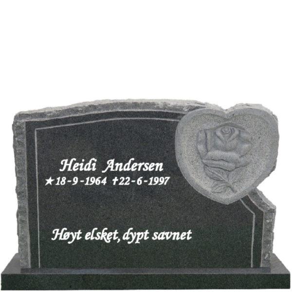 Gravstein Flos mørk grå granitt med tekst, front