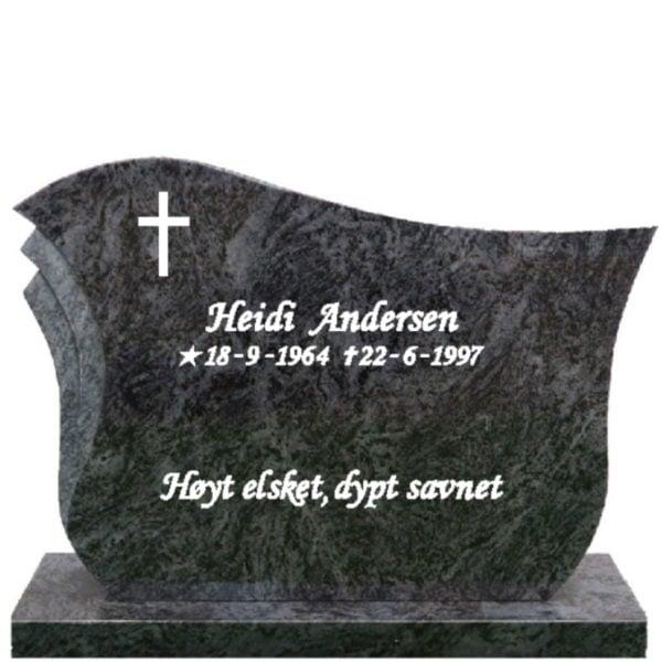 Gravstein Pulchra orion blå granitt med tekst, front