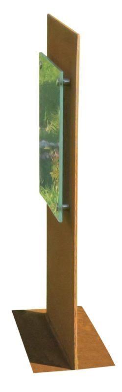 Gravstein Unicum Cortenstål side