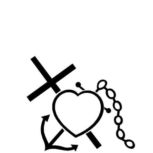 Gravert anker og kors med hjerte fra Gravstein Grossisten