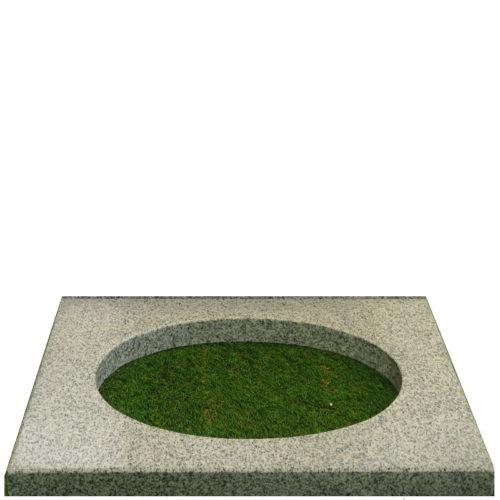 Bedplate i lys grå med 55 cm bredde fra Gravstein Grossisten
