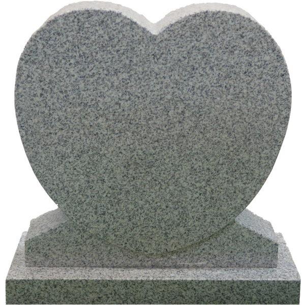 Gravstein Cor i lys grå granitt front