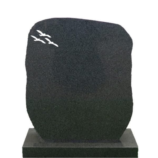 Gravstein Montes i mørk grå granitt front 2