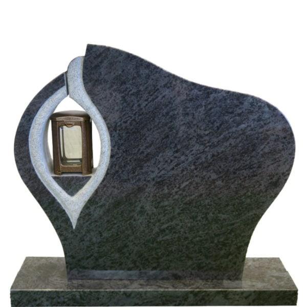Gravstein Ornate i orion blå granitt front