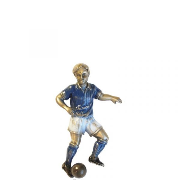 Fotballspiller i blå fra Gravstein Grossisten