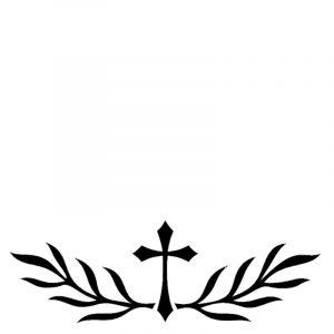 Kors med blader fra Gravstein Grossisten