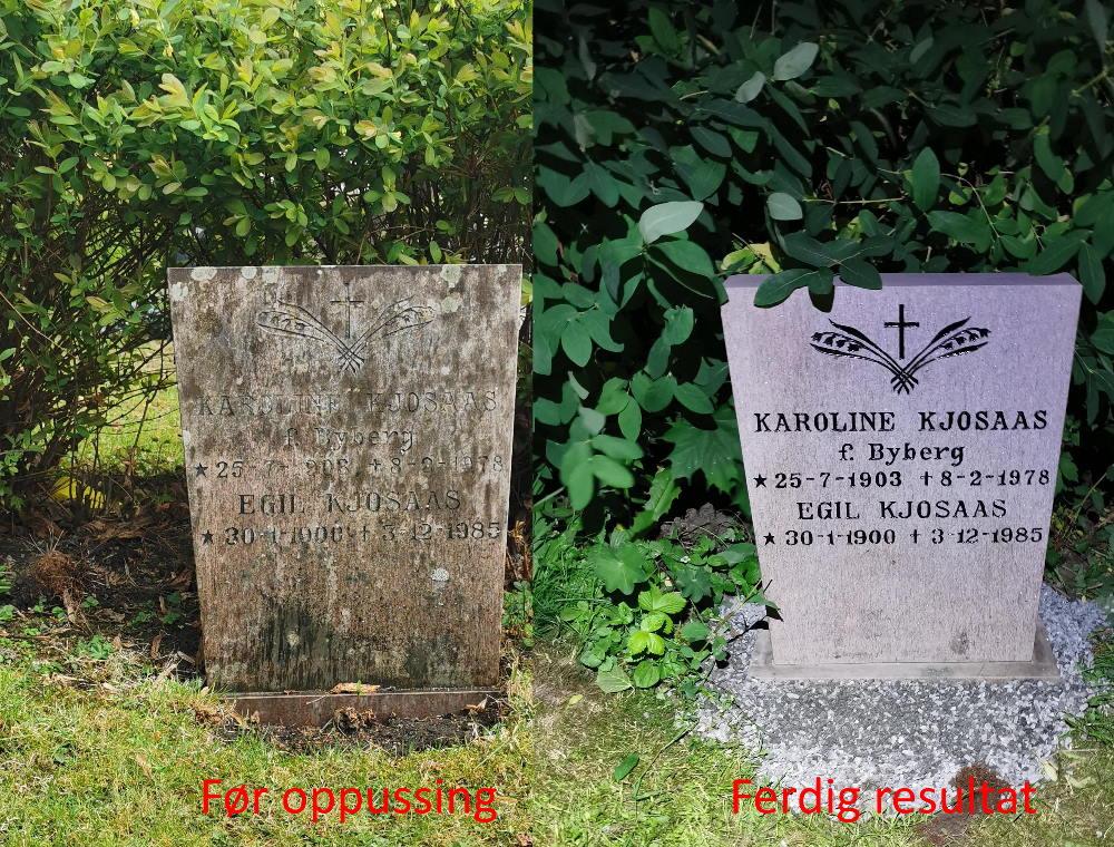 Oppussing av gravstein i Drammen